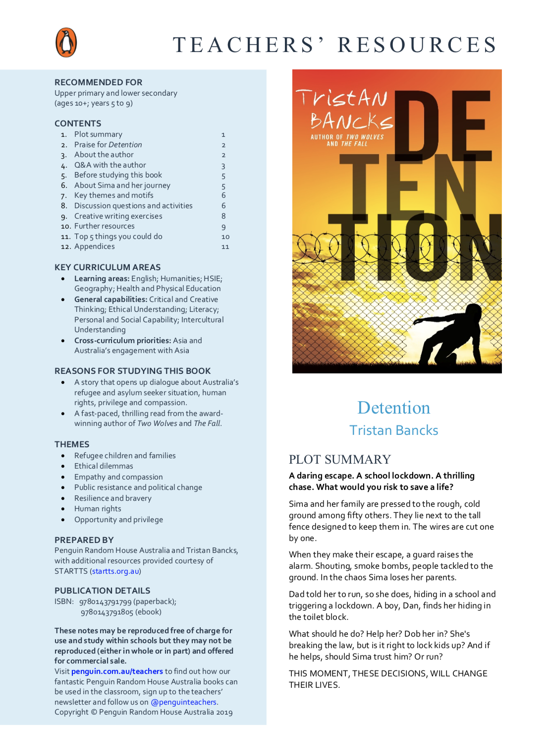 Detention Teacher Resources Tristan Bancks